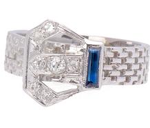 Vintage Sapphire Diamond Buckle Ring