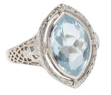 Lips in a Kiss - Vintage Aquamarine Ring