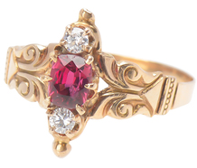 Edwardian Red Spinel & Diamond Ring