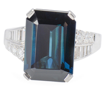 Blue Green Sapphire Diamond Ring
