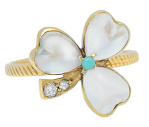 Moonstones Diamond Clover Ring