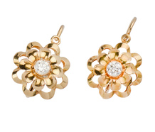 Curve Appeal - Estate Diamond Gold Earrings