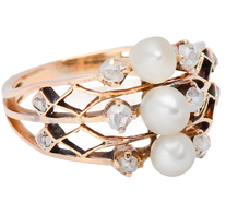 Intricate Patterns - Diamond Pearl Ring