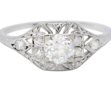 Art Deco Femininity in a Diamond Set Ring