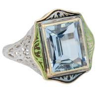 Enamel Kisses - Aquamarine Ring