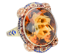 Power Statement - Citrine Enamel Dinner Ring
