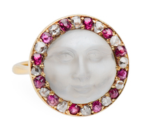 Man in the Moon Carved Moonstone Ring
