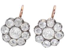 Shimmering Georgian Paste Cluster Earrings