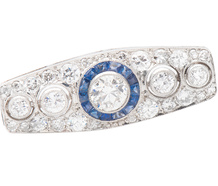 Platinum Pleasure - Diamond Sapphire Brooch
