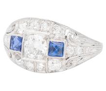 Art Deco History - Diamond Sapphire Ring