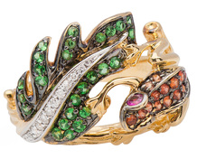 Gem Encrusted Frog & Leaf Ring