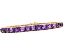 Sleek Art Deco Amethyst Line Bracelet