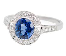 Halo Ring with Sapphire & Diamonds