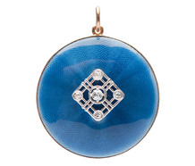 Guilloche Enamel Diamond Locket Pendant