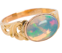 Ornate Antique Opal Ring in Yellow Gold