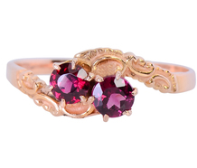 Kiss of Two Garnets in an Victorian Ring
