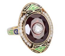 Enamel Magic - Garnet Diamond Ring