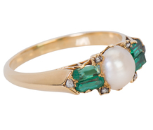 Unexpected - Edwardian Emerald Pearl Ring