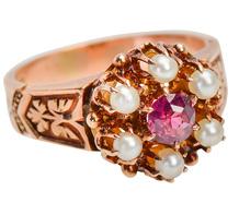Petal to Bouquet - Antique Garnet Ring