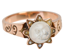 "Victorian ""Man in the Moon"" Moonstone Ring"