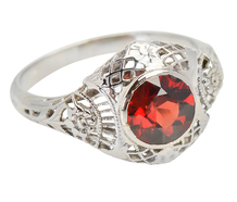 Cheery Garden - Vintage Faceted Garnet Ring