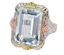Three Color Gold Filigree Aquamarine Ring