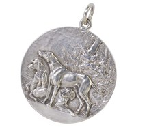 French Silver Dog Medal Pendant