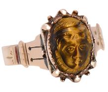 Antique Carved Tiger's Eye Deity Ring