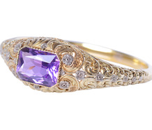 Magnificent Amethyst Two Color Gold Bracelet