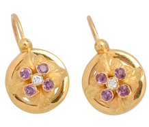 Antique French Amethyst Diamond Earrings
