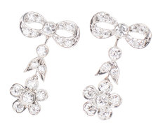 Platinum Bow & Flower Diamond Earrings