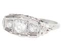 Art Nouveau Ring of Flowers & Diamonds