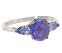 Mesmerizing Black Opal & Tanzanite Ring