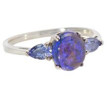 Mesmerizing Black Opal & Tanzanite Ring