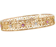 Still Life - Diamond Ruby Bangle Bracelet