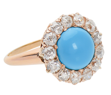 Blue Skies - Turquoise Diamond Halo Ring
