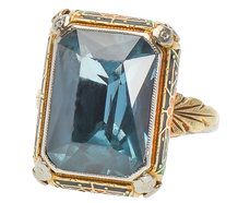 Art Deco Blue Topaz Enamel Ring