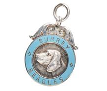 Sterling & Enamel Beagle Dog Medal Pendant