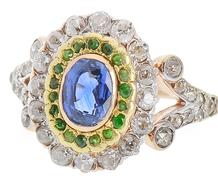 Diamond Sapphire Demantoid Garnet Ring