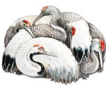 Longevity & Life - Asian Crane Brooch