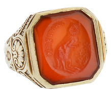 "Art Deco ""Kangarowl"" Carnelian Intaglio Ring"
