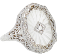 Diamond Frosted Rock Crystal Ring