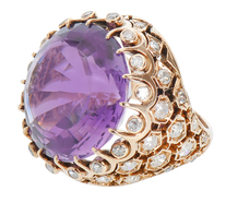 Pop Art Grand Style - Amethyst Diamond Ring