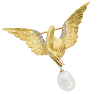 Majesty & Design - Bejeweled Swan Brooch