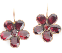 Georgian Bouquet - Garnet Pansy Earrings