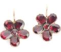 Georgian Bouquet - Garnet Pansy Earrings