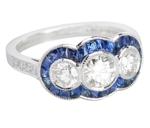 Three Stone Diamond Sapphire Ring