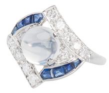 Moonstone Sapphire Diamond Ring
