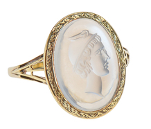 Greek God Intaglio Blue Moonstone Ring