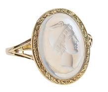Greek God Intaglio Blue Moonstone Ring